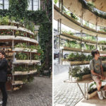 This public pavilion covered in plants was designed to invite people to sit inside