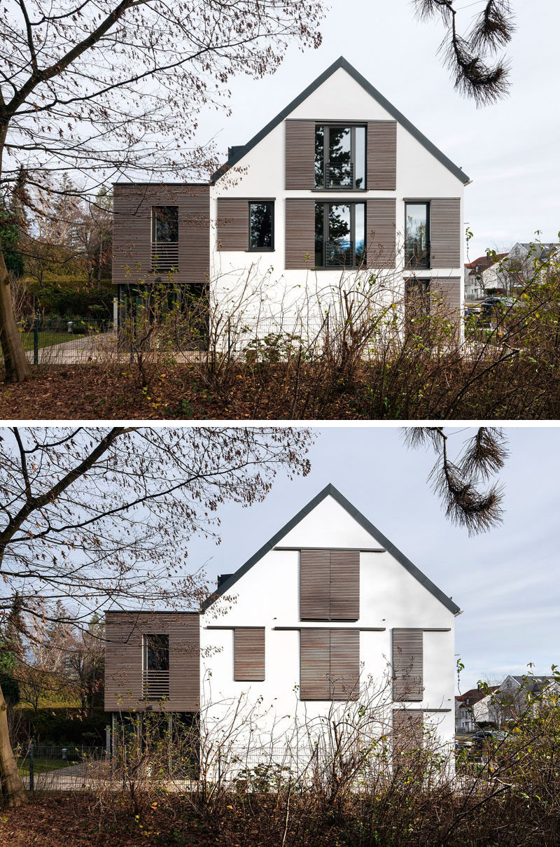 This house has sliding wood shutters to protect the windows from the elements.