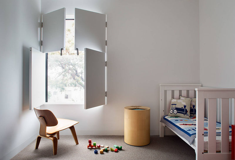 Interior window shutters can be a playful element in a children's bedroom.