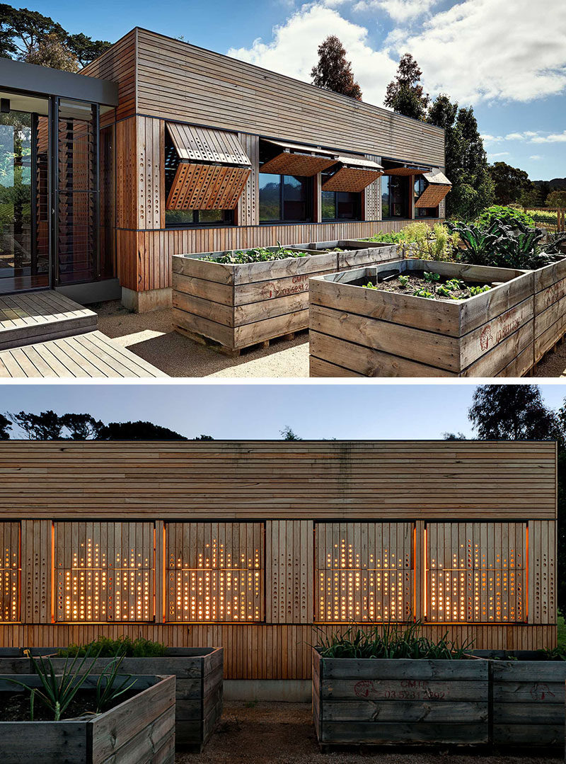 Wood shutters with a pattern can be closed but still let the light through.