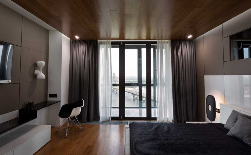 Two layers of curtains create privacy and block out the light.