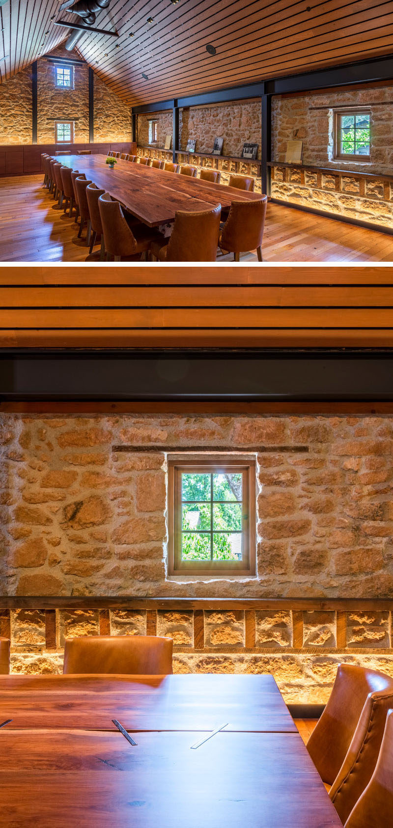 Contemporary touches like hidden lighting were added to the interior of this historic building to highlight the stone work of the original building.