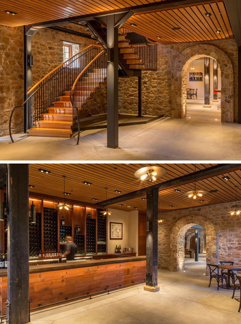 The floor within the Freemark Abbey was updated with distressed Douglas Fir flooring.