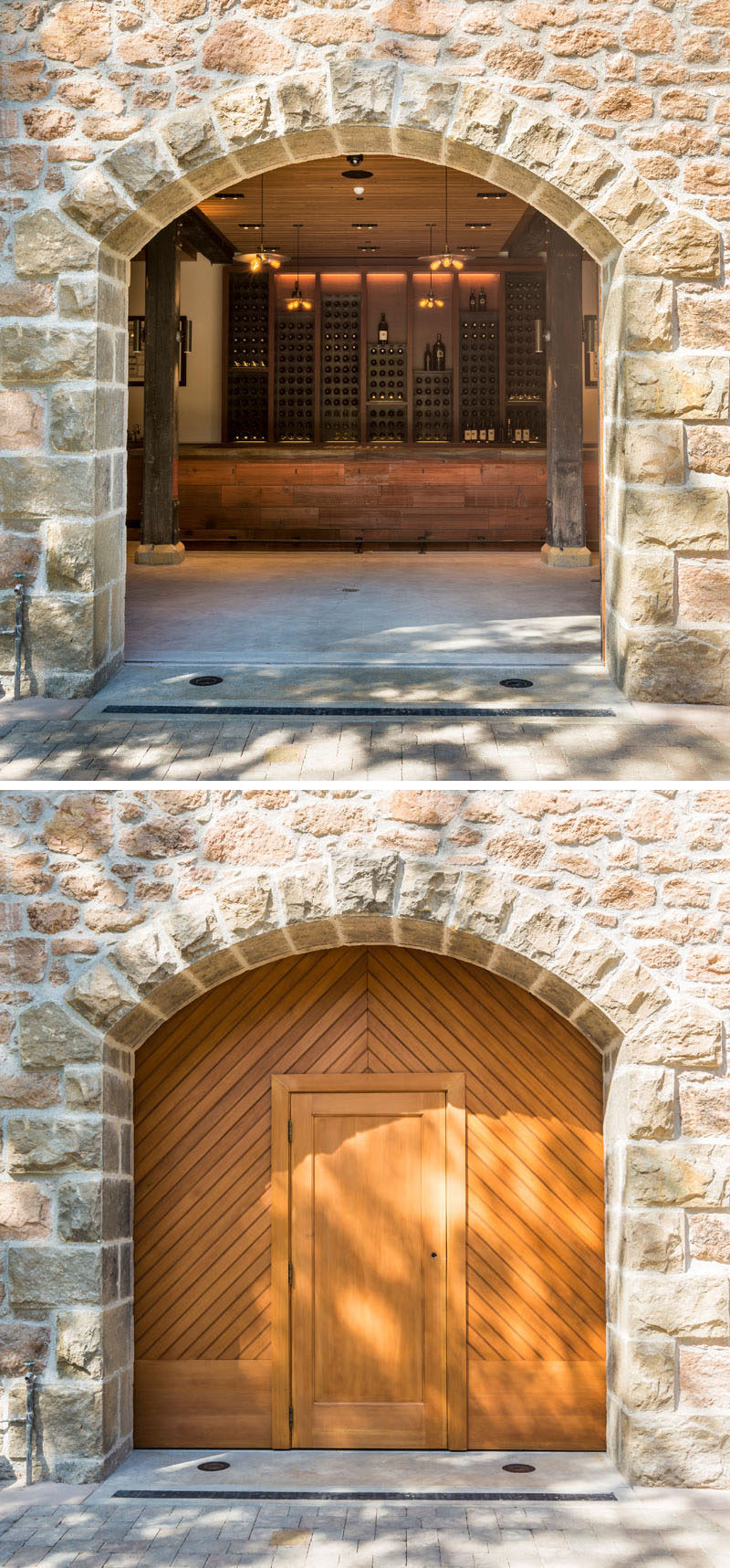 This bar at a vineyard has stone archways and large wooden doors that open up to the courtyard outside.