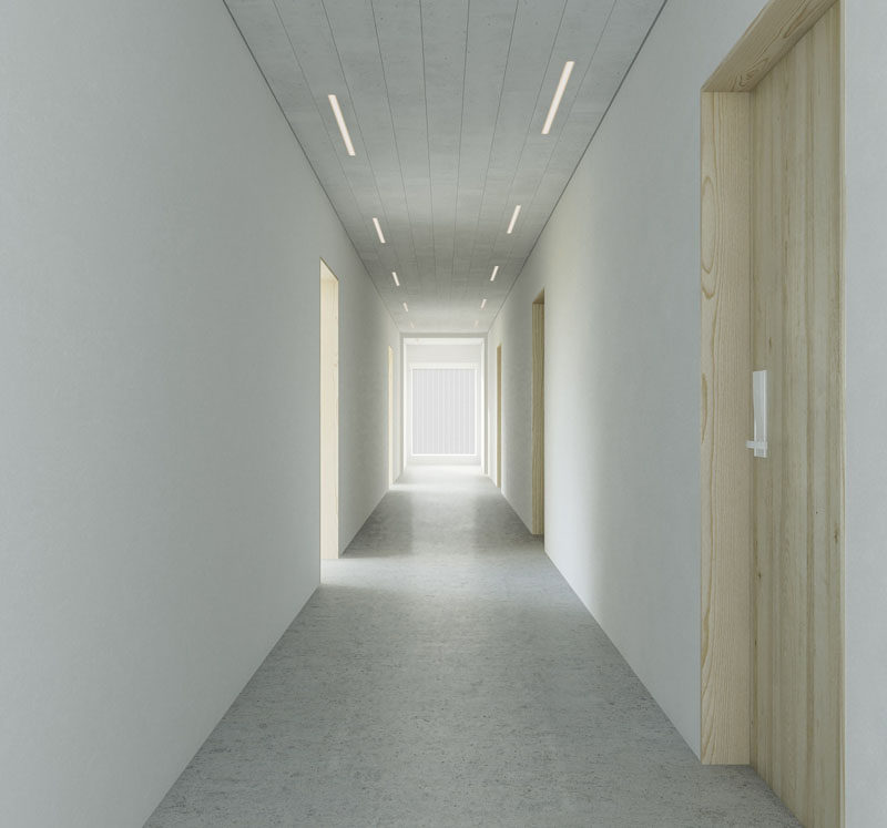 Hidden LED Lights are located within decorative ceiling panels for a seamless lighting look.