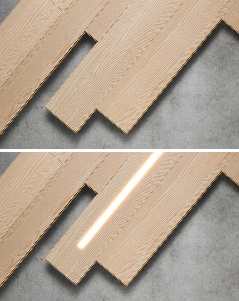 LED Lighting is hidden within these wooden wall panels.