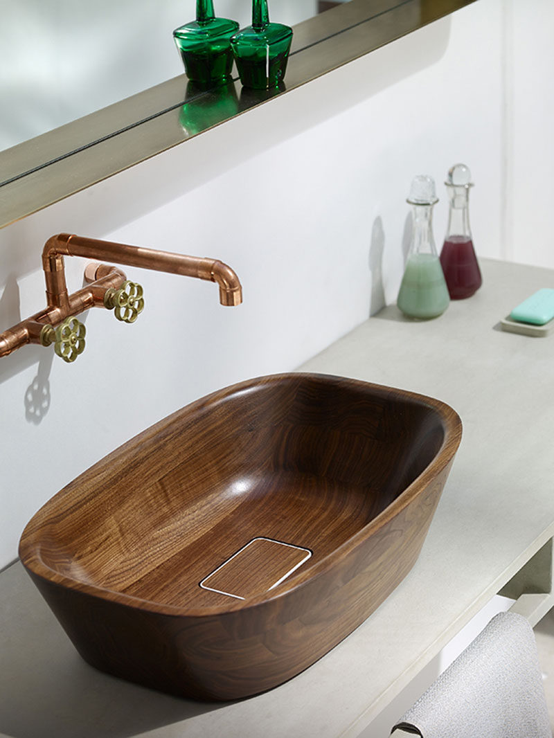 Bathroom Design Idea - Install Wood Sinks For A Natural Touch