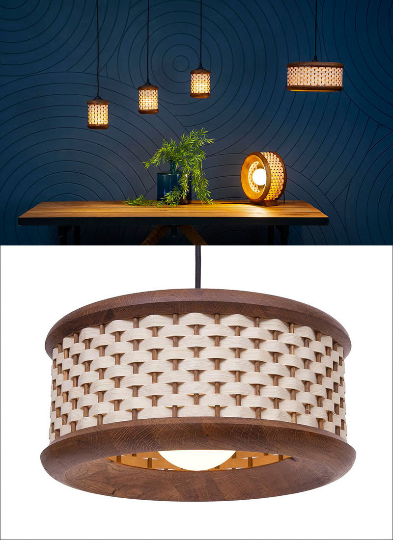 15 Wood Pendant Lights That Add A Natural Touch To Your Decor // These modern pendant lights, inspired by traditional basket weaving, cast a warm glow through the hand woven strips of oak.