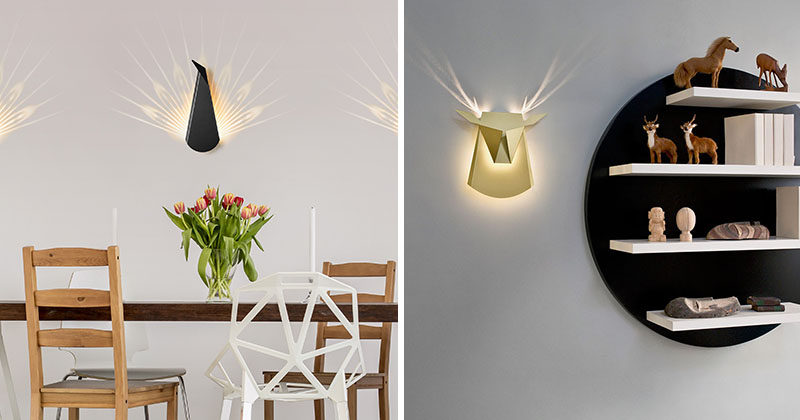 When you turn these peacock and deer head wall lights on, additional details reveal themselves.