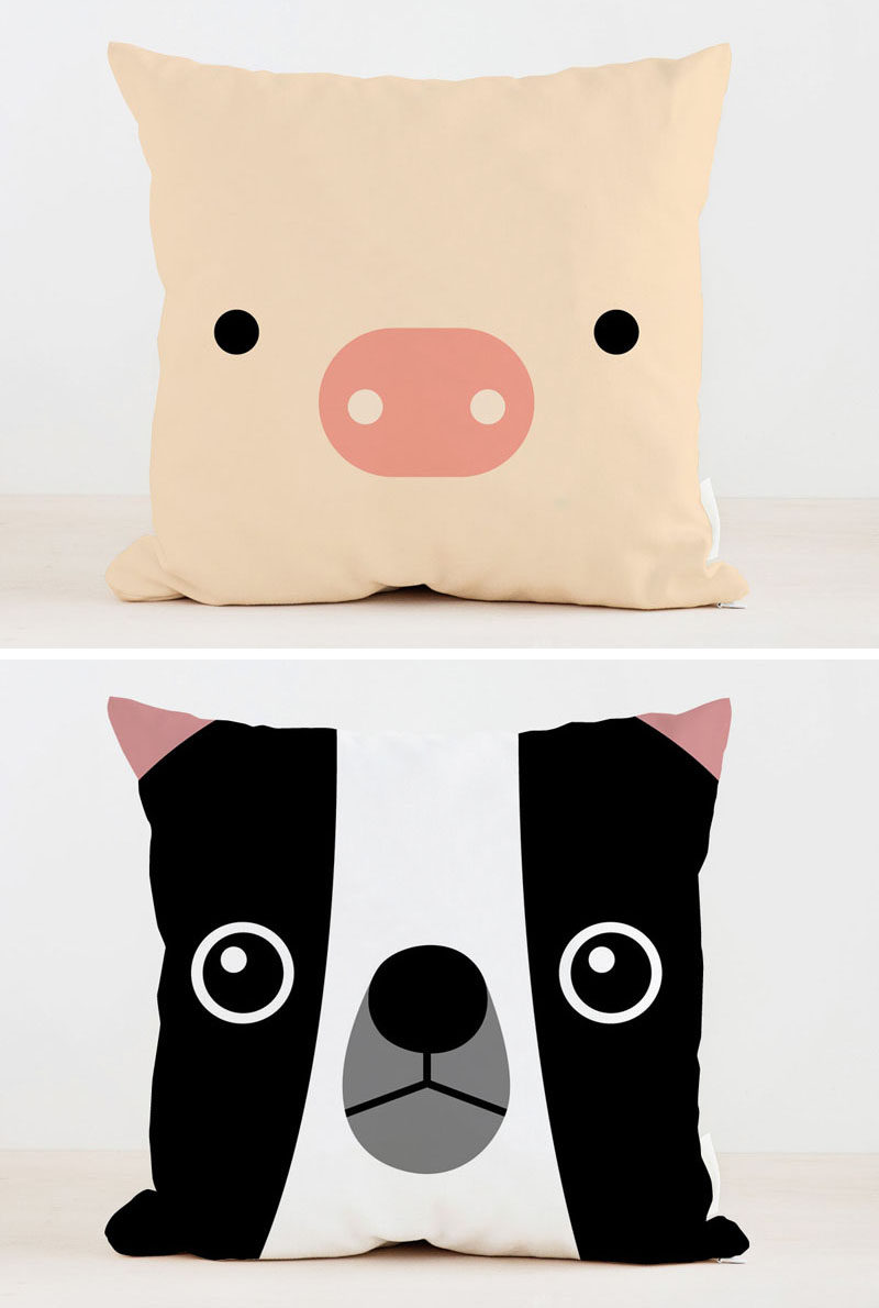 Animal kids pillows by Frankie Print Co.