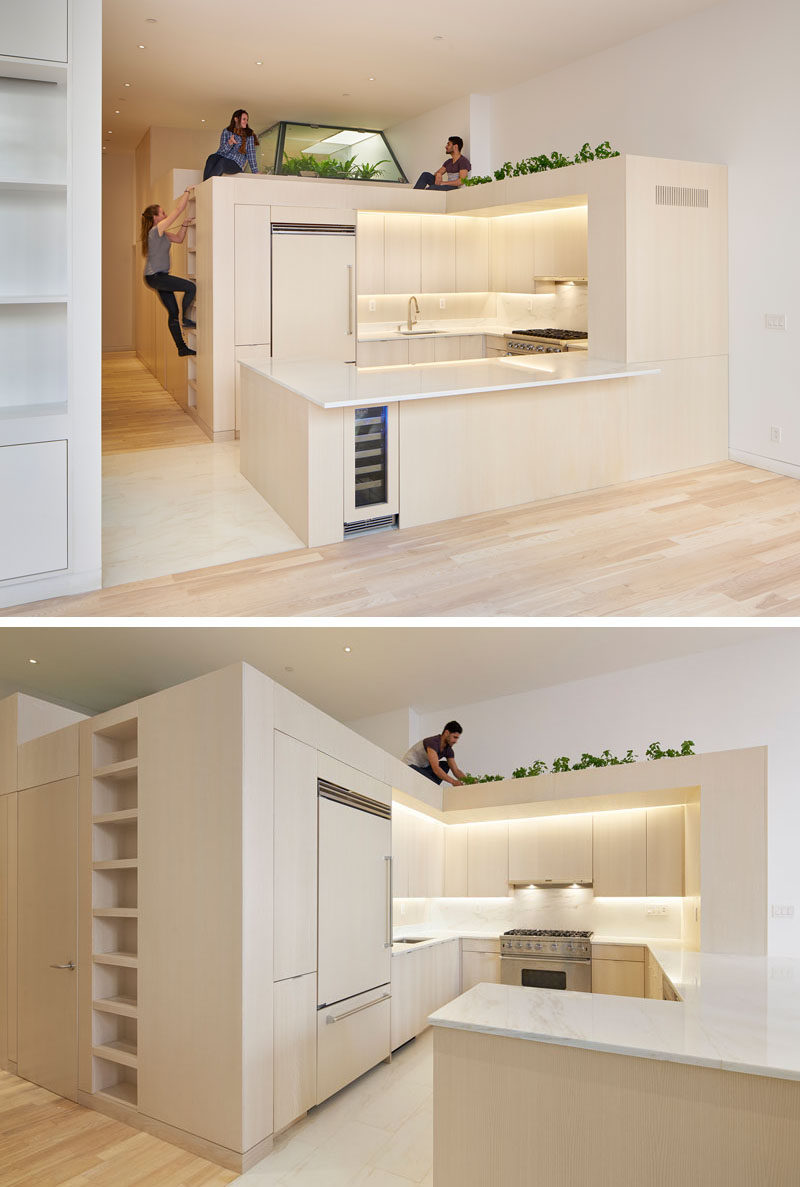 This apartment has a unique 'third space' between the living/kitchen and sleeping areas that houses the bathrooms and allows plants to grow on top.