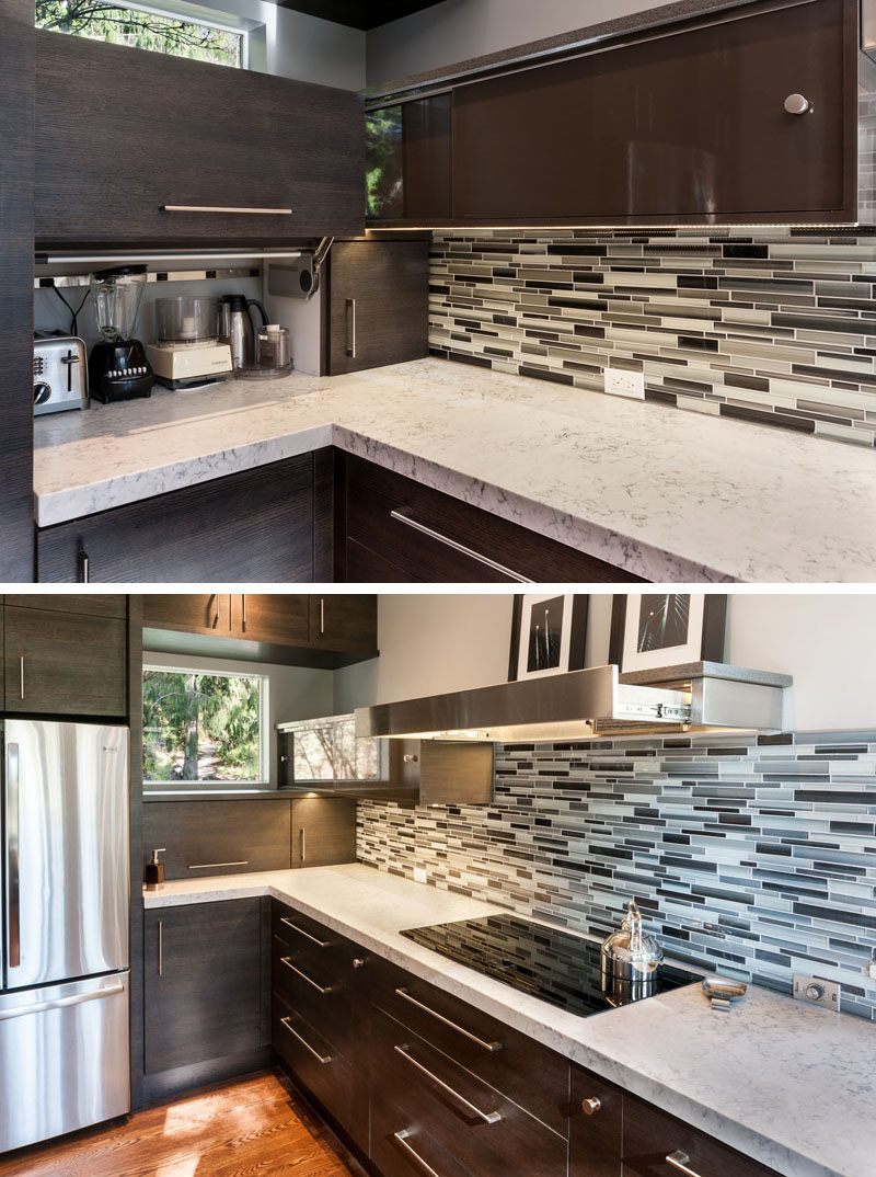 Kitchen Design Idea - Store Your Kitchen Appliances In A Dedicated Appliance Garage // The door to this appliance garage simply lifts up.  #ApplianceGarage #KitchenIdeas #KitchenDesign