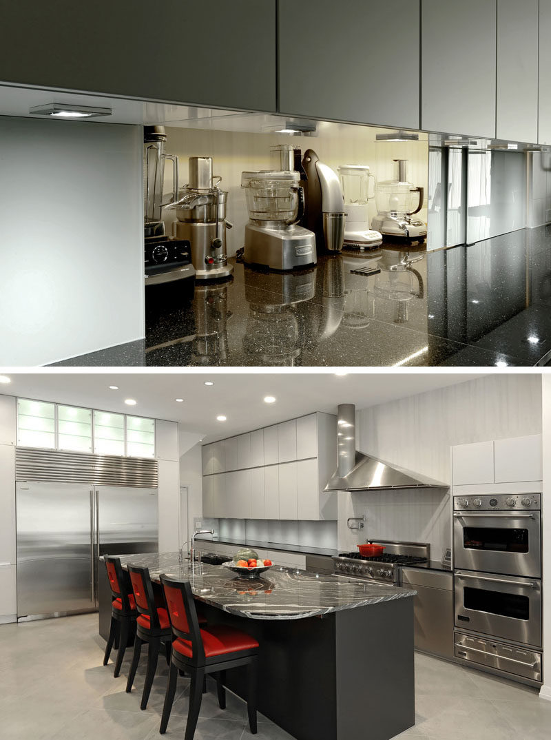 Kitchen Design Idea - Store Your Kitchen Appliances In A Dedicated Appliance Garage // These sliding doors just look like a backsplash when they're closed but slide open to reveal hidden appliances that are easy to grab when you need them.