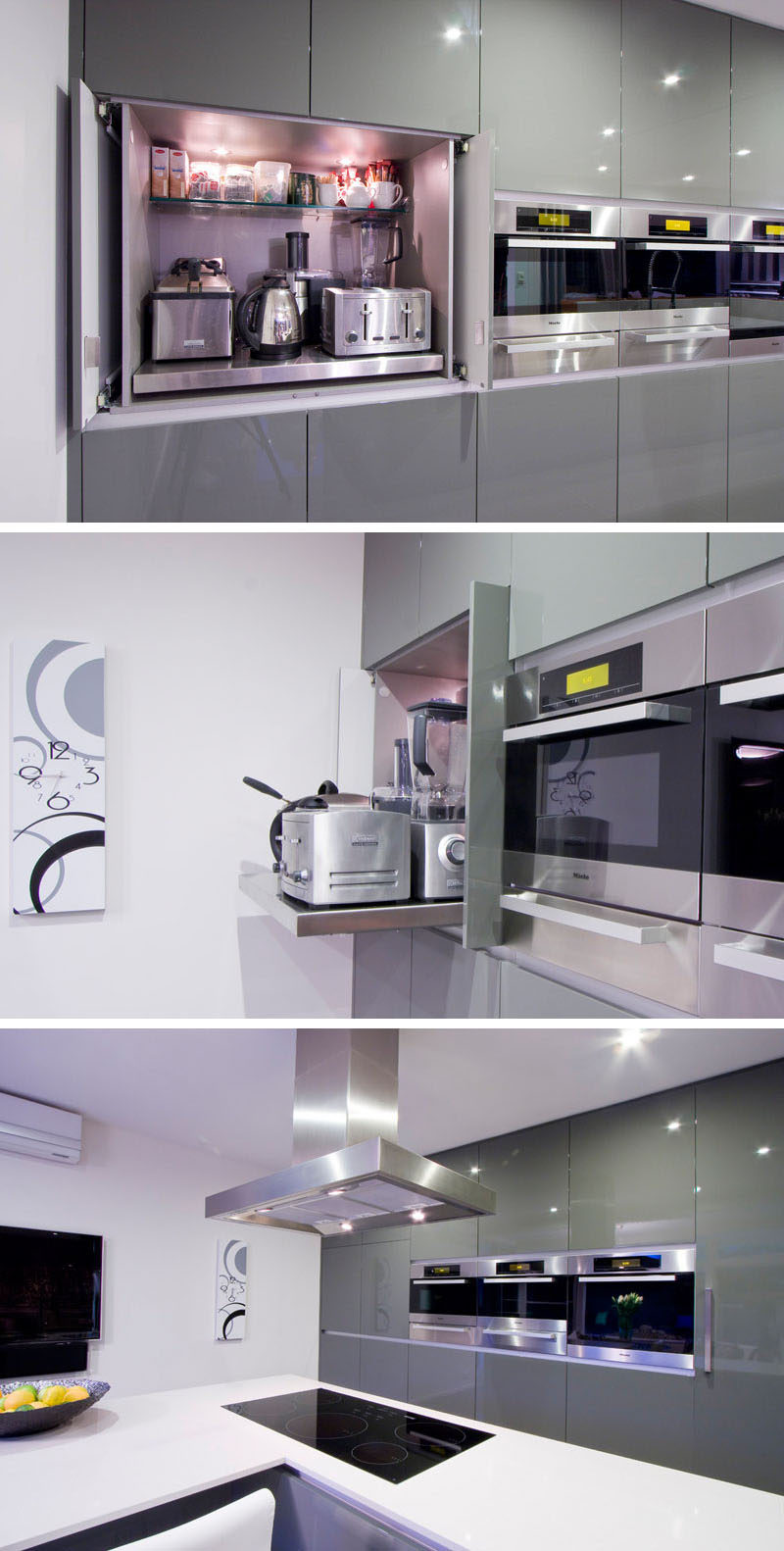 Kitchen Design Idea - Store Your Kitchen Appliances In A Dedicated Appliance Garage // The main shelf of this appliance garage pulls out to make it easier to access the appliances stored at the back.  #ApplianceGarage #KitchenIdeas #KitchenDesign