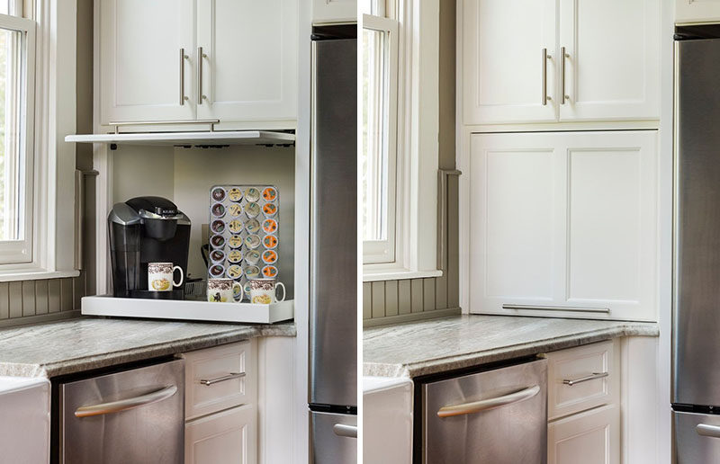 Kitchen Design Idea - Store Your Kitchen Appliances In A Dedicated Appliance Garage // The door of this garage slides opens and tucks into the cabinetry to stay out of the way while the shelf inside pulls out to make the coffee machine more easily accessible.