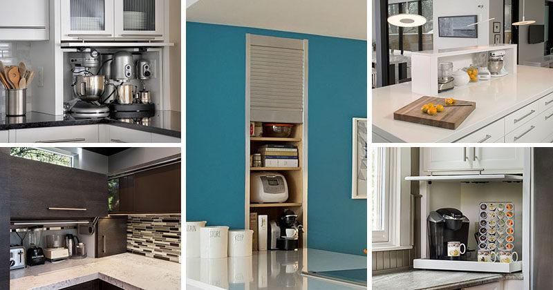 Kitchen Design Idea - Store Your Kitchen Appliances In A Dedicated Appliance Garage #ApplianceGarage #KitchenDesgin #KitchenIdeas