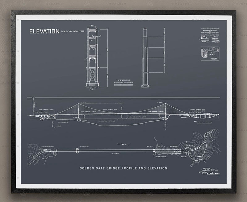 40 Awesome Gift Ideas For Architects And Interior Designers // An architectural blue print of a bridge.