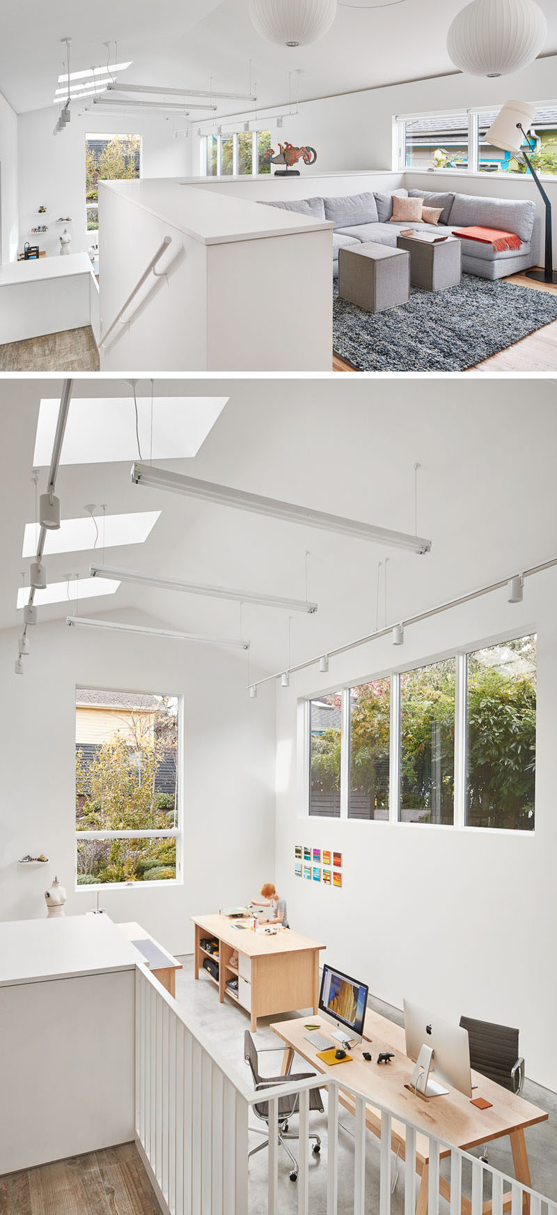 This home has a bright and spacious art studio with cathedral ceilings, that sits half a level below the main floor of the home.