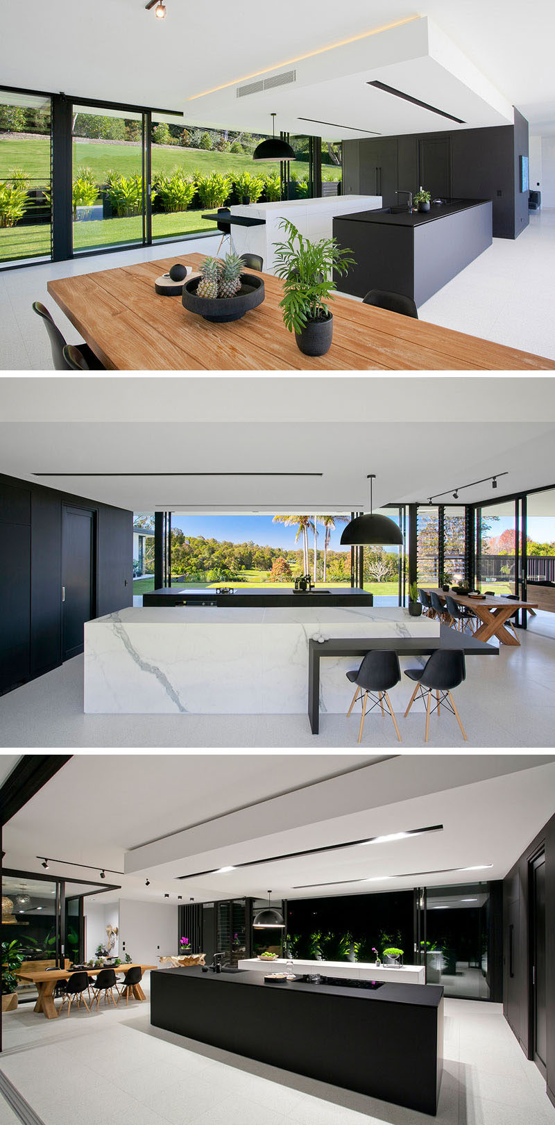 In this minimalist kitchen, fine matte black laminate and marble-look porcelain were used in the design of the islands, and a large black box hides the essentials of the kitchen. Inside there's plenty of storage, an additional butlers sink and extra prep space.