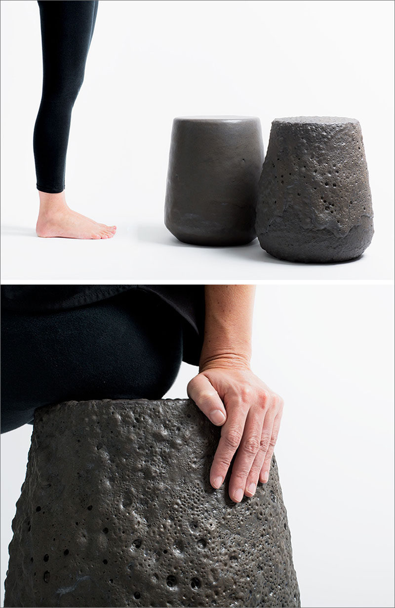 """Chilean design studio gt2P (great things to People), have launched their latest collection, named """"Remolten N°1: Revolution Series"""", a group of stools that have been created using real lava."""