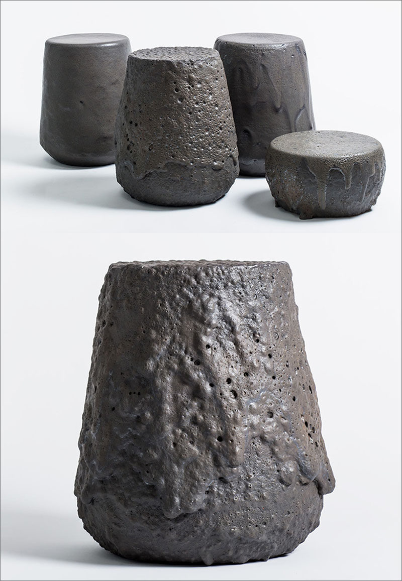 "Chilean design studio gt2P (great things to People), have launched their latest collection, named ""Remolten N°1: Revolution Series"", a group of stools that have been created using real lava."