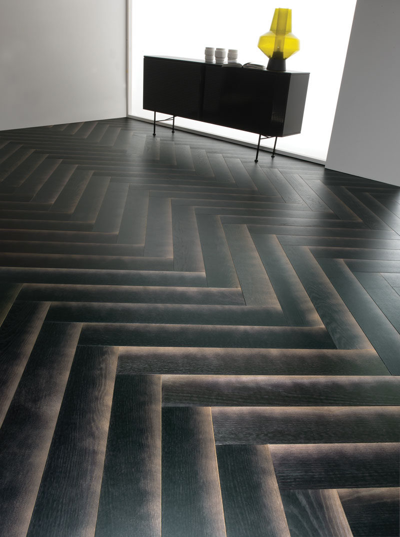 This black wood flooring is designed to have a gradient shadow.
