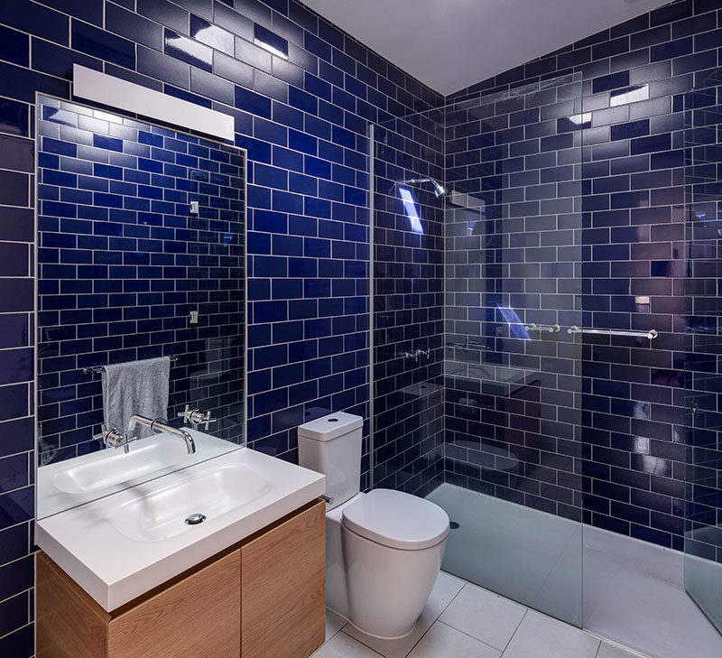 Bathroom Design Idea Mix And Match Glossy And Matte Tiles