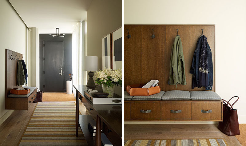 Entryway Design Ideas - 3 Different Styles Of Entryway Benches // This floating entryway bench is attached to the wall and provides additional storage.