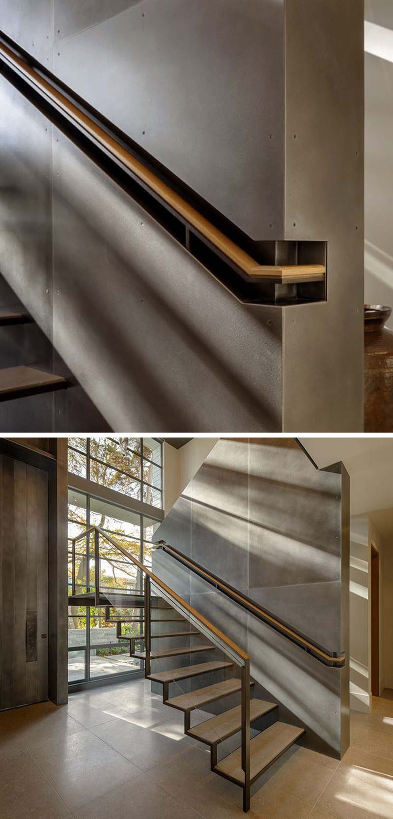 Stair Design Ideas - 9 Examples Of Built-In Handrails // This wood and steel handrail is built into a section of the wall for a more industrial look. #BuiltInHandrail #HandrailIdeas #HandrailDesign #StairDesign #Handrails
