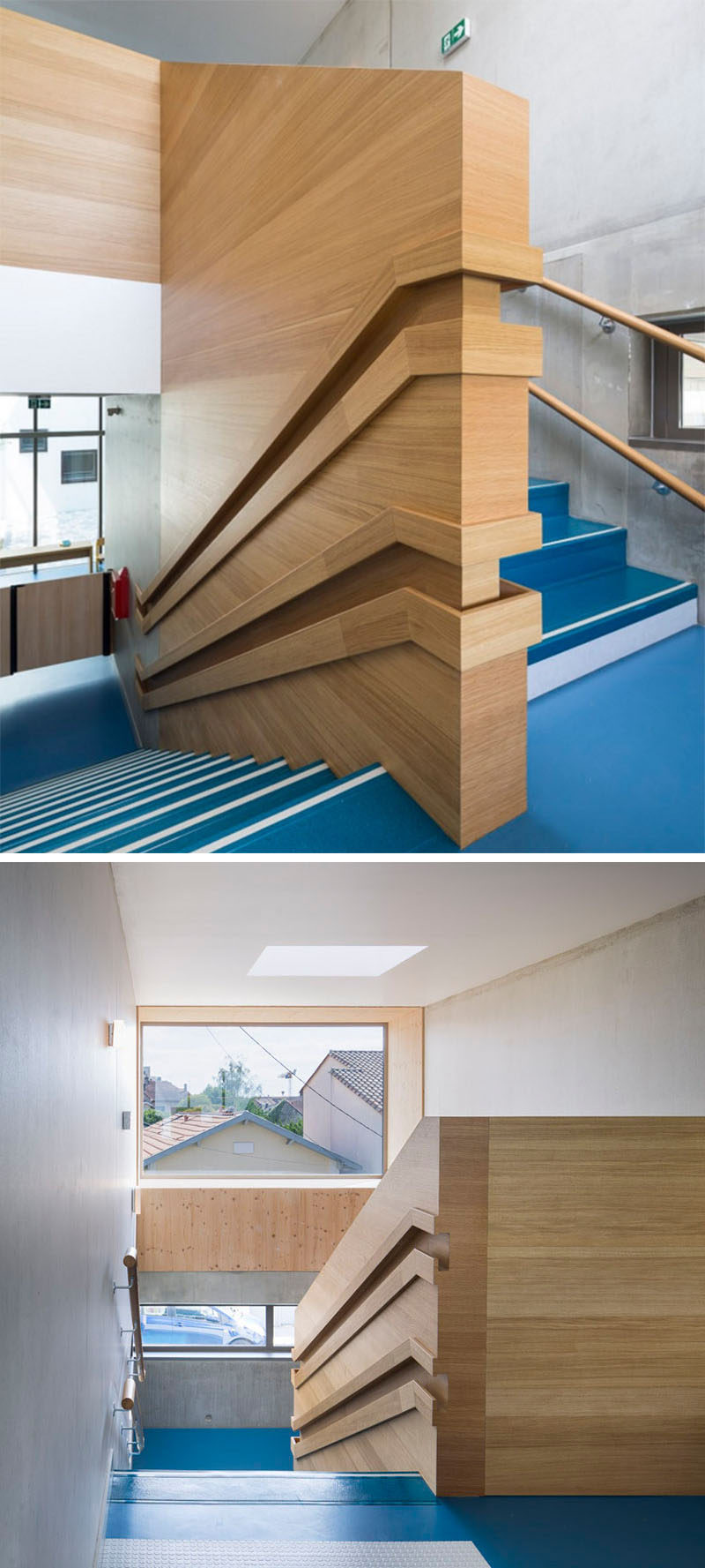 Stair Design Ideas - 9 Examples Of Built-In Handrails // These dual handrails in a day care have been built into the wood wall, making sure both the children and the adults have a space to hold on to. #BuiltInHandrail #HandrailIdeas #HandrailDesign #StairDesign #Handrails