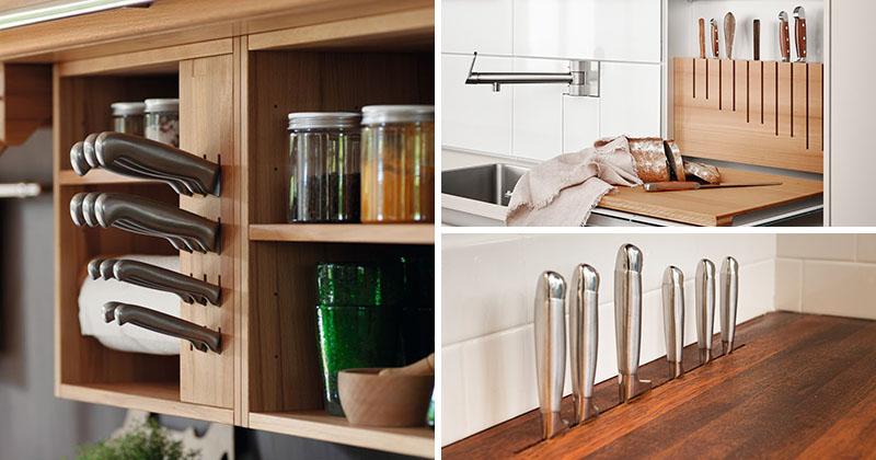 Kitchen Design Idea Include A Built In Knife Block