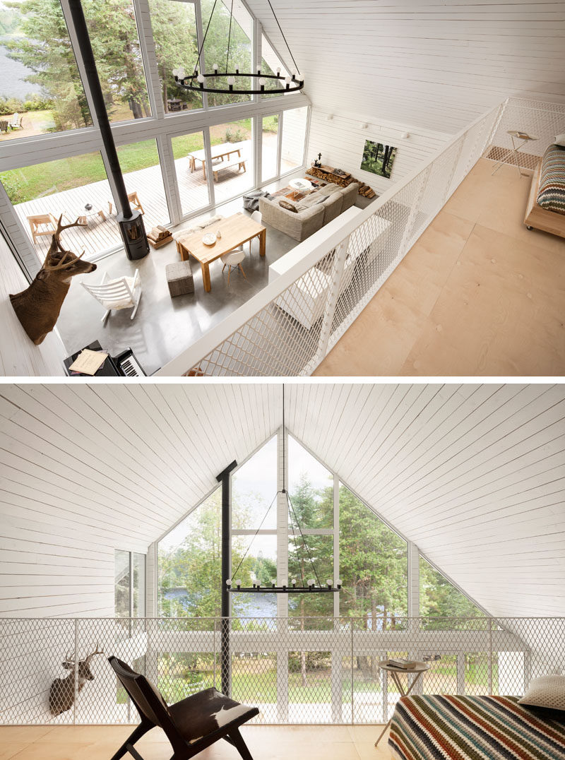 This Canadian cabin has a lofted area above the kitchen.