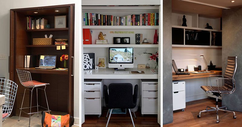 Small apartment design idea create a home office in a closet contemporist Closet home office design ideas