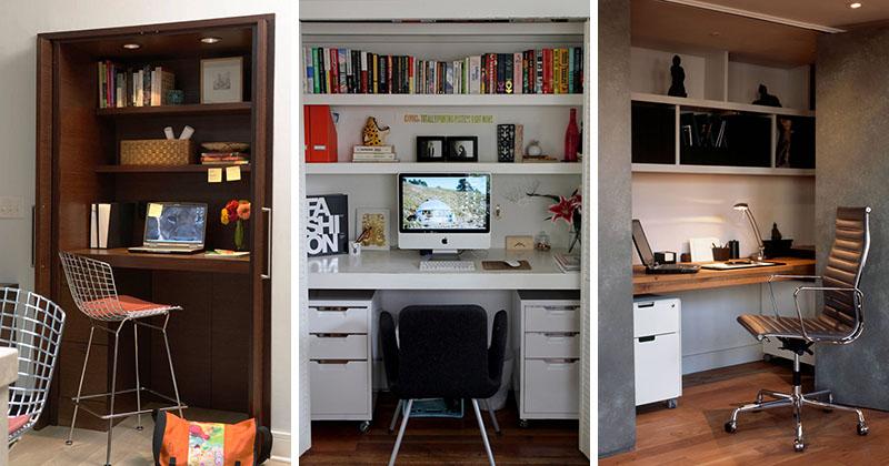 Small Apartment Design Idea - Create A Home Office In A Closet | CONTEMPORIST