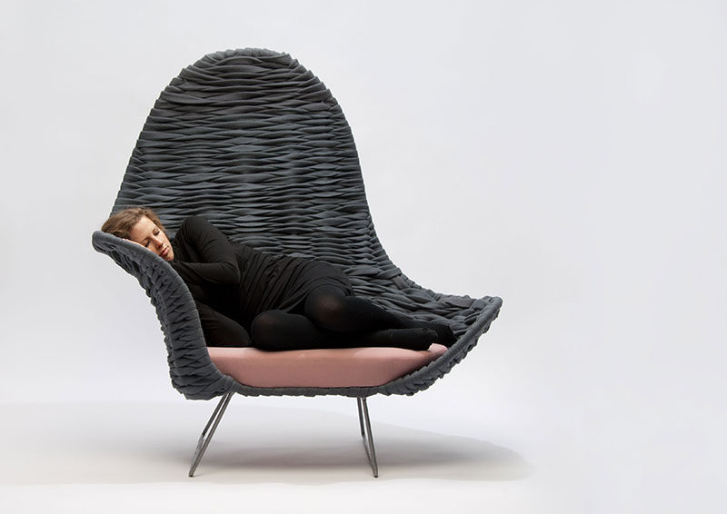 12 Comfy Chairs Perfect For Relaxing In // Soft woven felt and a spongy cushion give you lots of freedom to move around and get comfy in this large lounge chair.