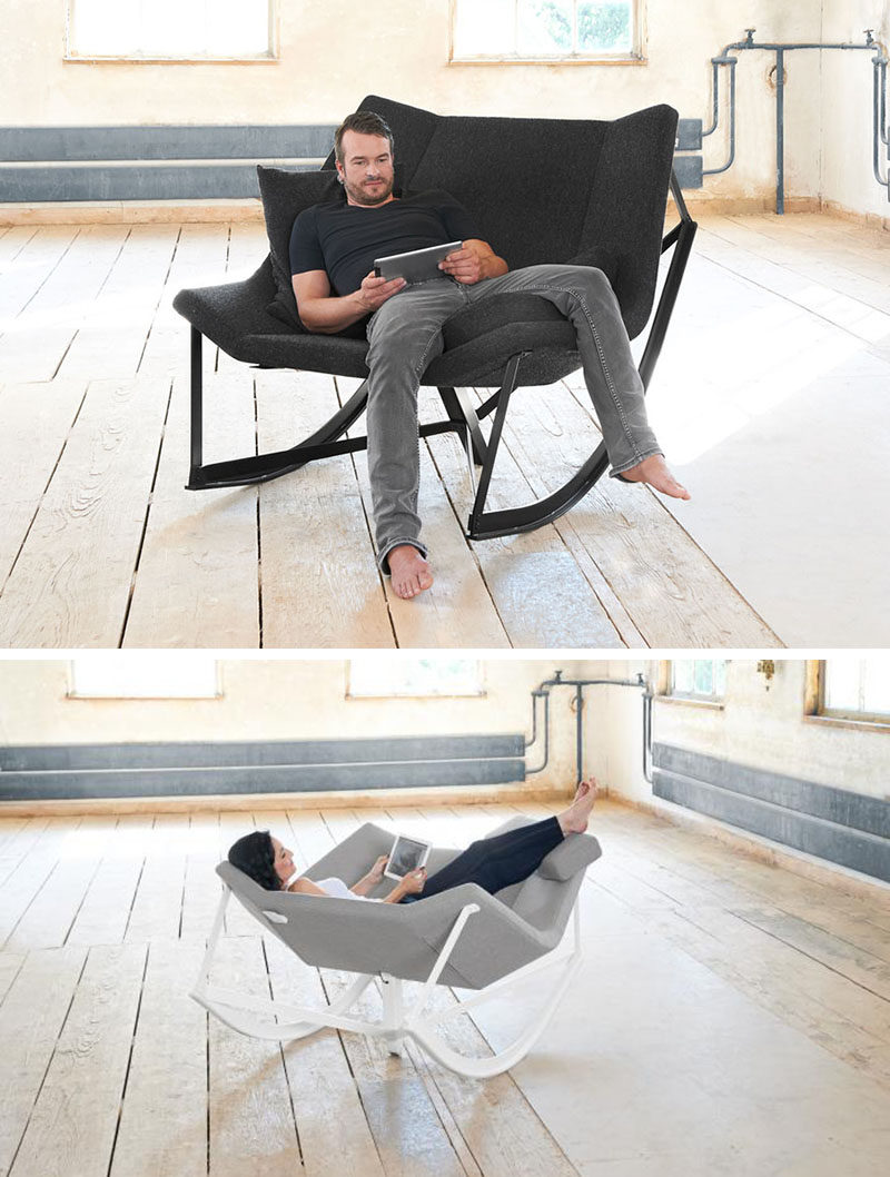 12 Comfy Chairs Perfect For Relaxing In // This rocking chair is wide enough for two people but makes for an excellent lounging chair when you're getting comfy by yourself.