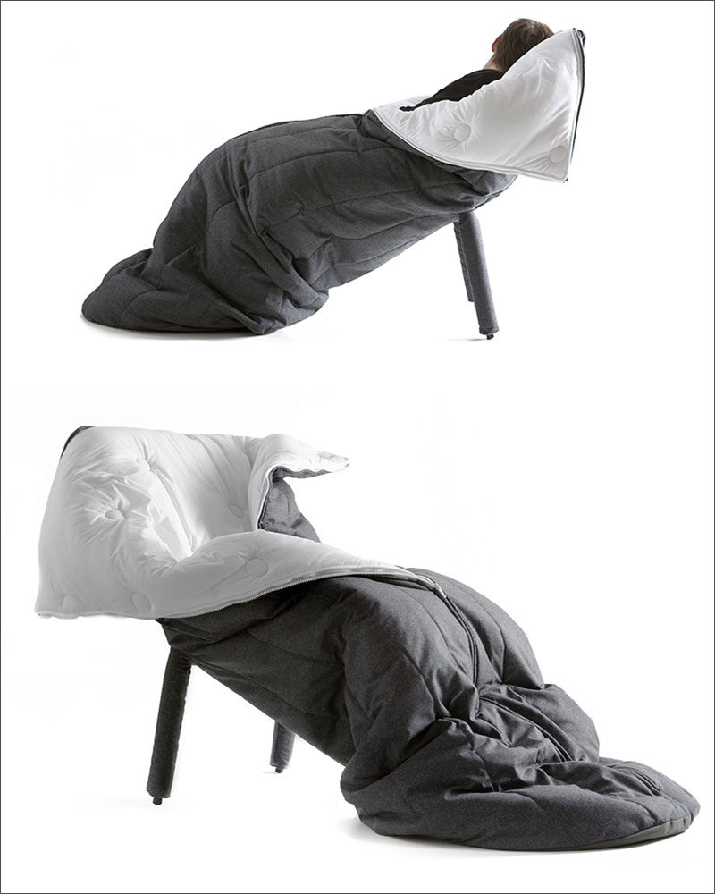12 Comfy Chairs Perfect For Relaxing In // This sleeping bag chair would be next to impossible not to fall asleep in.