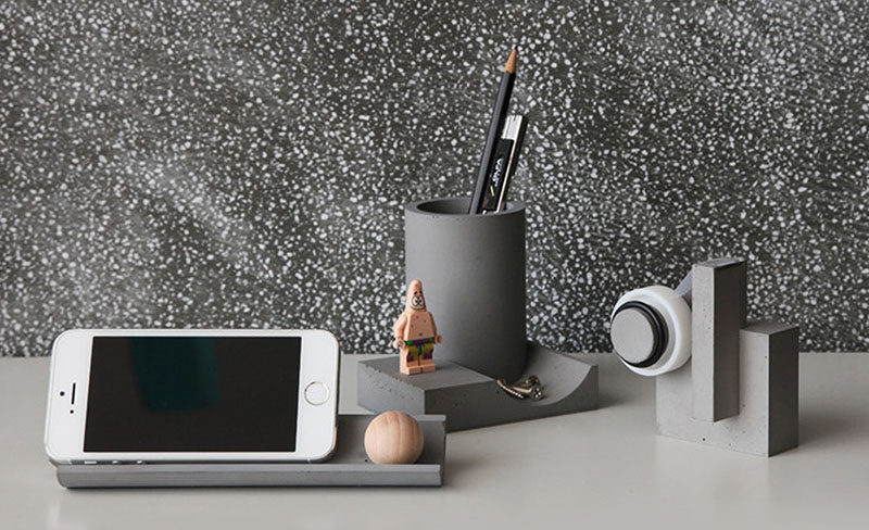 40 Awesome Gift Ideas For Architects And Interior Designers // A concrete desk set.