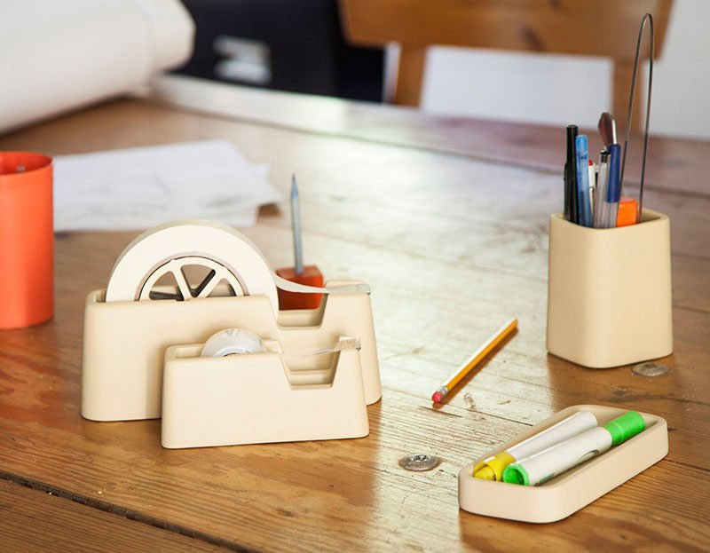 40 Awesome Gift Ideas For Architects And Interior Designers // A minimalist concrete desk set.