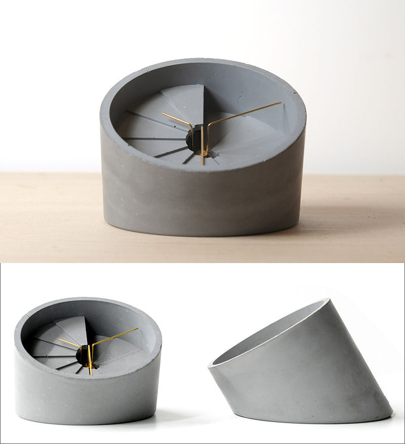 40 Awesome Gift Ideas For Architects And Interior Designers // A Concrete  Desk Clock.