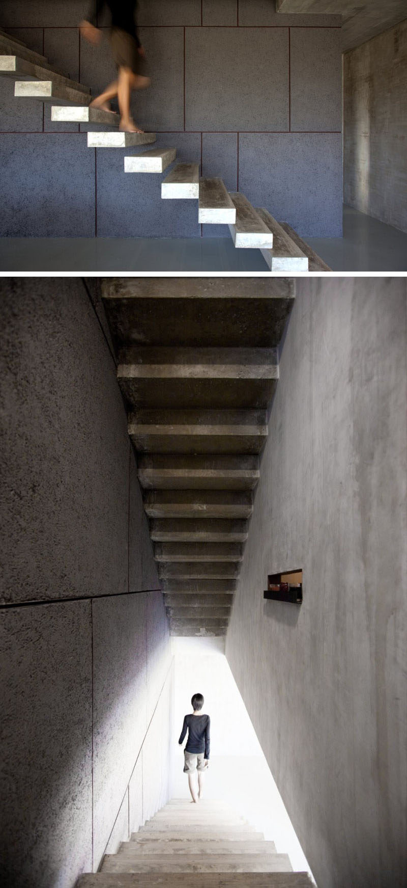 Floating concrete stairs take you to the upper floor of this Thai home.