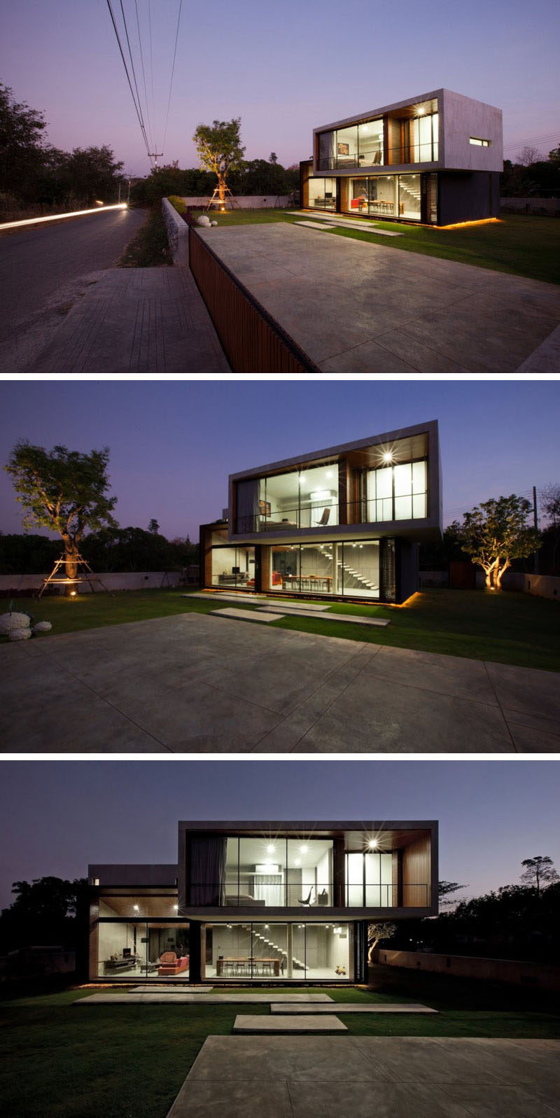 A small concrete wall defines the property line of this house, and a concrete path leads you to the entrance.
