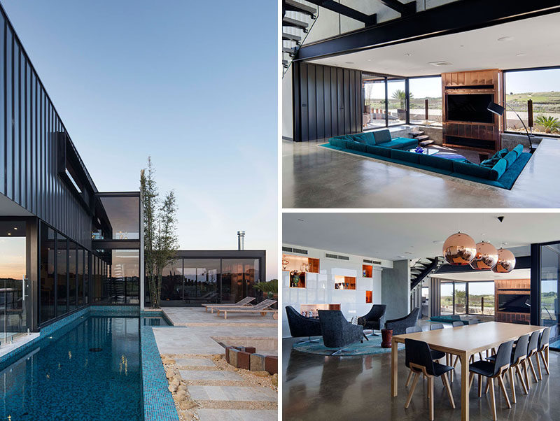 This modern home has a sunken living room, a plunge pool, a firepit and outdoor lounge area.