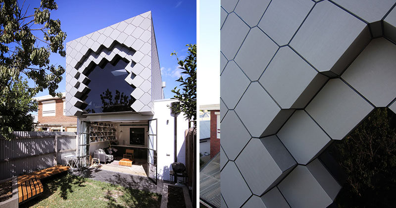 A tessellated pattern made from zinc panels was used to create a unique facade for this home addition in Australia.