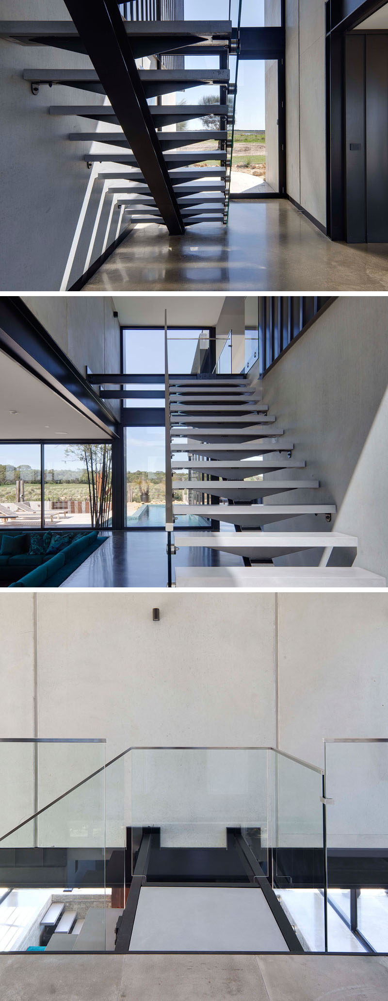 Light gray stair treads have been combined with black steel and a glass handrail to create a contemporary look for the staircase.