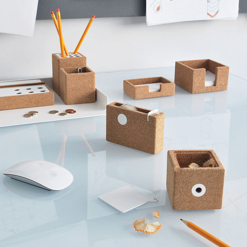 40 Awesome Gift Ideas For Architects And Interior Designers // Cork desk organizers