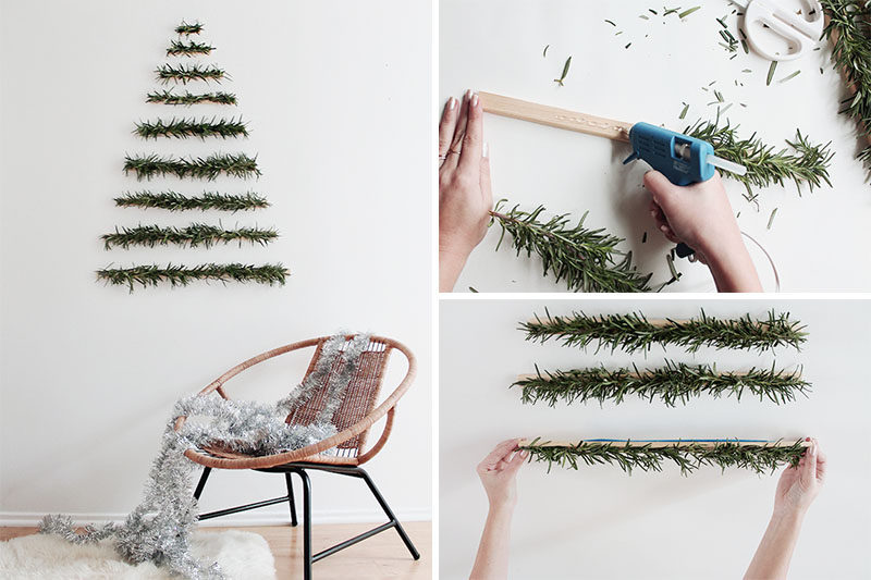 Christmas Decor Ideas - 14 DIY Alternative Modern Christmas Trees // This Christmas tree alternative is perfect for all the minimalists all there. Simple greenery arranged in the shape of a tree can be made as large or as small as you want it.