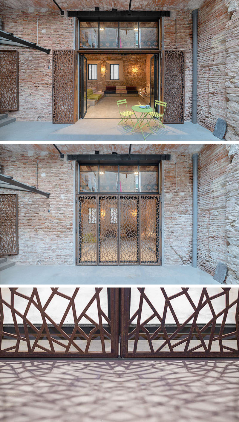 These doors has artistic steel screens to help with security.