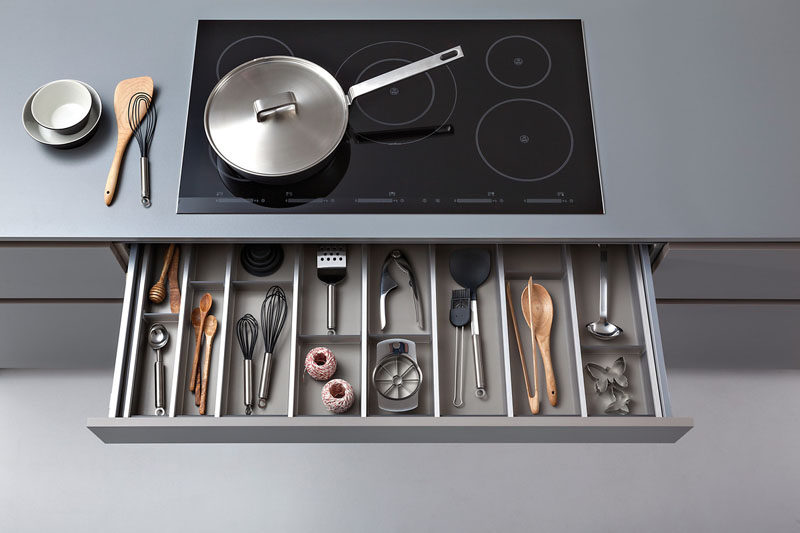Kitchen Drawer Organization - Design Your Drawers So Everything Has A Place // Dividers in this kitchen drawer directly below the stove keep everything organized and make it super easy to find exactly what you're looking for when you need it.