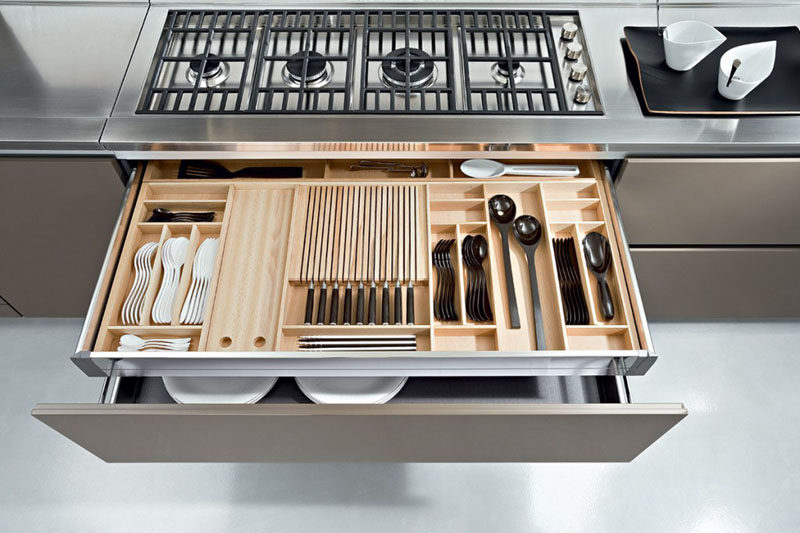 Kitchen Drawer Organization - Design Your Drawers So Everything Has A Place // The middle section of this custom drawer organizer features long slits to perfectly accommodate knives and prevent them from floating around freely.